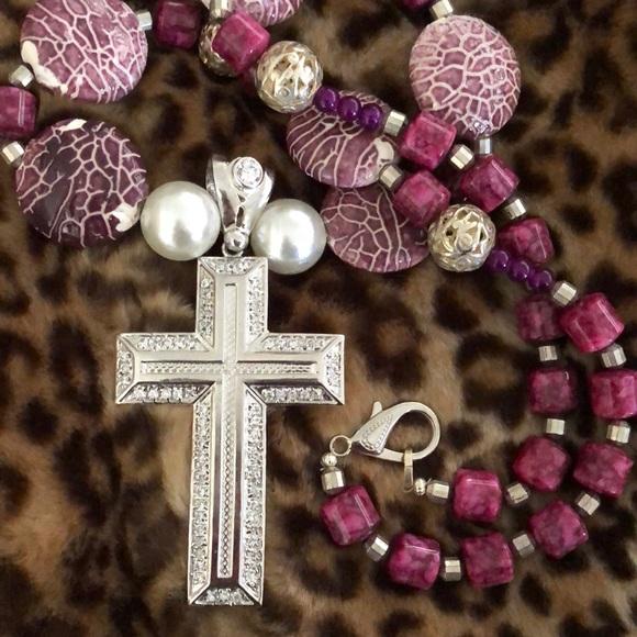 Jewelry - Brand New Custom Stone Cross Necklace